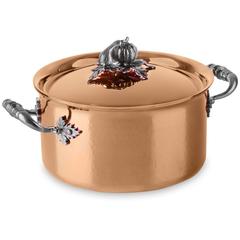 Набор медной посуды, крышки с посеребренной декорированной ручкой,  RUFFONI Opus Cupra арт. CZ06 Ruffoni