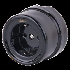 Розетка с заземлением и шторками (черный) Ретро WL18-03-02 Werkel