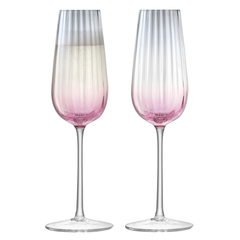 Набор из 2 бокалов-флейт для шампанского Dusk 250 мл розовый-серый LSA International G1332-09-152