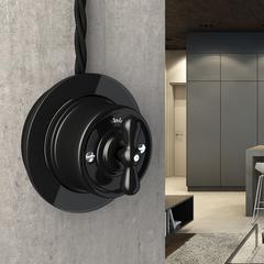 Выключатель на 4 положения двухклавишный (черный) Ретро WL18-01-05 Werkel