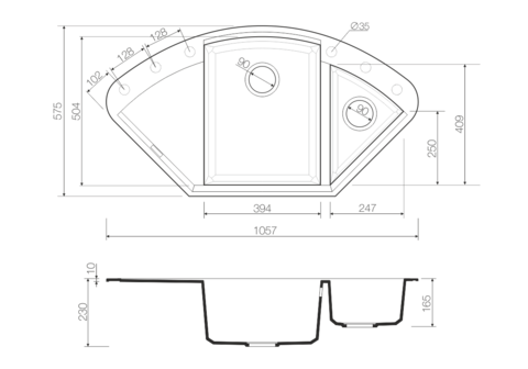 Кухонная мойка из искусственного гранита (Tetogranit) OMOIKIRI Sakaime 105C-WH (4993137)