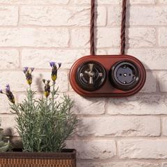 Розетка с заземлением и шторками (коричневый) Ретро WL18-03-02 Werkel