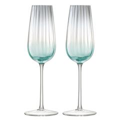 Набор из 2 бокалов-флейт для шампанского Dusk 250 мл зелёный-серый LSA International G1332-09-151