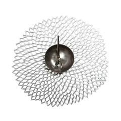 Салфетка подстановочная, винил, (36х39) Silver (100142-001) CHILEWICH Pressed dahlia арт. 0403-DAHL- SILV