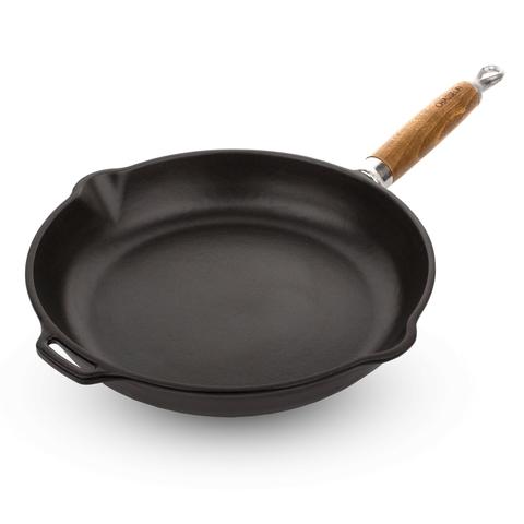 Сковорода чугунная 26см с эмалированным покрытием, ручка деревянная, CHASSEUR арт. 3126