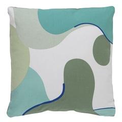Подушка декоративная из хлопка мятного цвета с авторским принтом из коллекции Freak Fruit, 45х45 см Tkano TK20-CU0004
