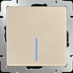 Выключатель одноклавишный с подсветкой(шампань) WL11-SW-1G-LED Werkel
