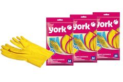 Комплект из 3 хозяйственных резиновых перчаток, размер (M) York