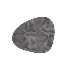Подстановочная салфетка фигурная 37x44 см, толщина 2мм Croco silver-blac LindDNA-98287