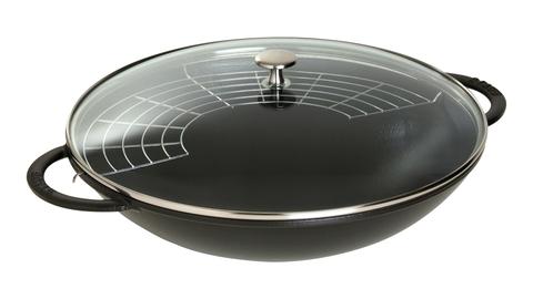 Вок Staub со стеклянной крышкой, 37 см, 5,7 л, черный 1313923