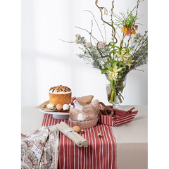 Полотенце кухонное из хлопкового муслина молочного цвета с принтом Цветы из коллекции Prairie, 50х70 см Tkano TK20-TT0007