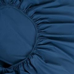 Простыня на резинке темно-синего цвета из органического стираного хлопка из коллекции Essential, 160х200 см Tkano TK20-FSI0001