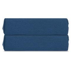 Простыня на резинке темно-синего цвета из органического стираного хлопка из коллекции Essential, 180х200 см Tkano TK20-FSI0007