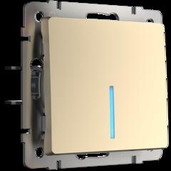 Выключатель одноклавишный проходной с подсветкой (шампань) WL11-SW-1G-2W-LED Werkel