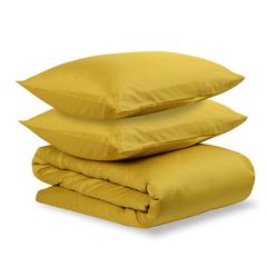 Комплект постельного белья двуспальный из сатина горчичного цвета из коллекции Essential Tkano TK19-DC0020