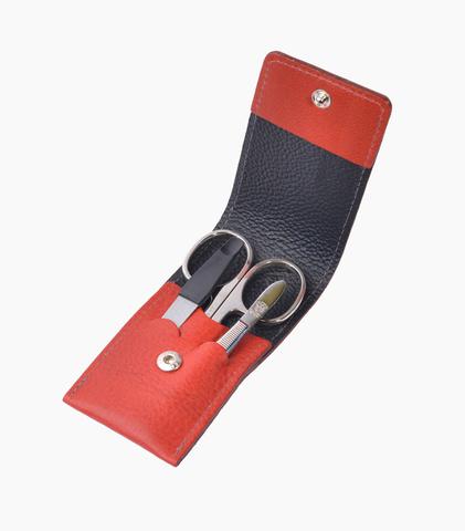 Маникюрный набор Dovo LE, 3 предмета, кожаный футляр (вол), цвет красный 1074031