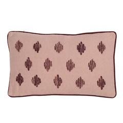 Подушка декоративная из хлопка цвета пыльной розы с контрастным кантом из коллекции Ethnic, 30х50 см Tkano TK19-CU0009