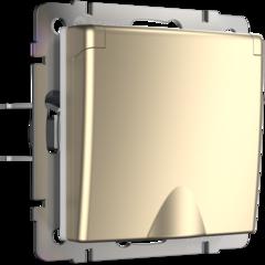 Розетка влагозащ. с зазем. с защит. крышкой и шторками (шампань) WL11-SKGSC-01-IP44 Werkel