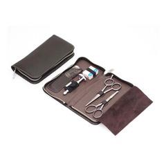 Набор бритвенный Dovo: 5 предметов, цвет коричневый, кожаный футляр 508056