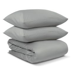 Комплект постельного белья двуспальный из сатина светло-серого цвета из коллекции Essential Tkano TK19-DC0018