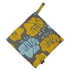 Прихватка из хлопка серого цвета с принтом Цветы из коллекции Prairie, 22х22 см Tkano TK20-PH0007