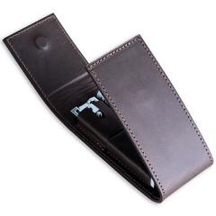 Набор бритвенный Dovo: 2 предмета, цвет коричневый, кожаный футляр 578051