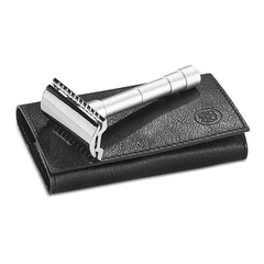 Станок для бритья Dovo разборный, цвет хром, кожаный чехол, лезвия в комплекте 9046002