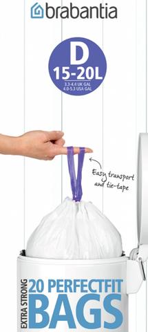 Пакет пластиковый 15л 20шт Brabantia 246760