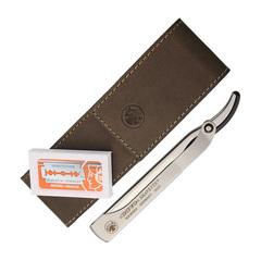 Набор бритвенный Dovo: 2 предмета, цвет коричневый, кожаный футляр 577056