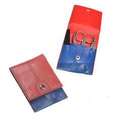 Маникюрный набор GD, 4 предмета, цвет синий/красный, кожаный футляр 1523RBN