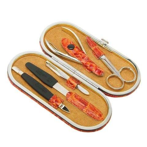 Маникюрный набор GD, 5 предметов, цвет оранжевый, кожаный футляр 1554OCLG