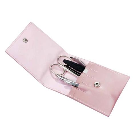 Маникюрный набор GD, 4 предмета, цвет розовый, кожаный футляр 1523ROS