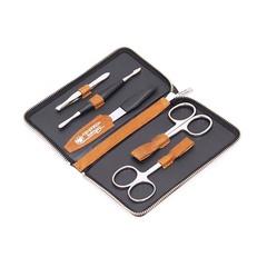 Маникюрный набор Dovo, 5 предметов, цвет коричневый, кожаный футляр 606066