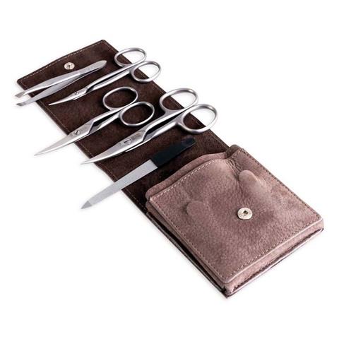 Маникюрный набор Dovo, 5 предметов, цвет коричневый, кожаный футляр 2051066