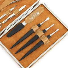 Маникюрный набор Dewal, 8 предметов, цвет бежевый, кожаный футляр 506EB