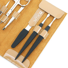 Маникюрный набор Dewal, 6 предметов, цвет бежевый, кожаный футляр 507EB