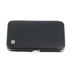 Маникюрный набор Dovo, 6 предметов, цвет черный, кожаный футляр 284018