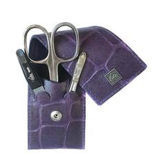 Маникюрный набор Erbe, 3 предмета, цвет фиолетовый, кожаный футляр 9714ER