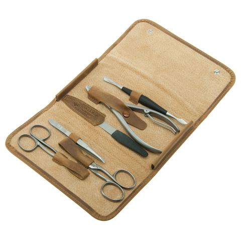 Маникюрный набор Dovo, 6 предметов, цвет коричневый, кожаный футляр 8017066