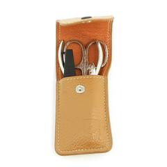 Маникюрный набор Dewal, 4 предмета, цвет бежевый, кожаный футляр 509EB