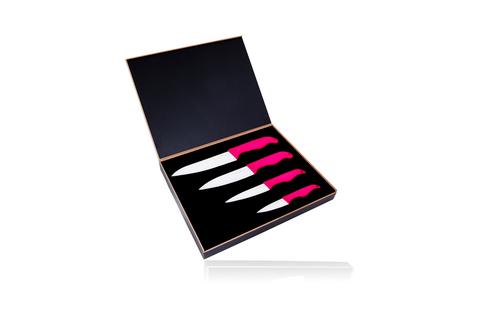 Набор из 4 керамических ножей Hatamoto Pink (HP08W4-AP)