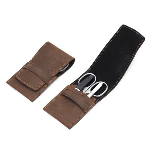 Маникюрный набор Dovo, 3 предмета, цвет коричневый, кожаный футляр 1058056