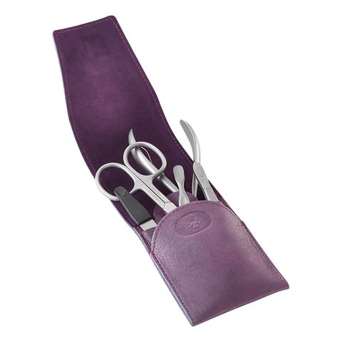 Маникюрный набор Dovo, 5 предметов, цвет фиолетовый, кожаный футляр 7010121