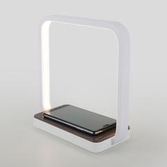Светодиодная настольная лампа с беспроводной зарядкой QI Eurosvet Frame 80502/1 коричневый