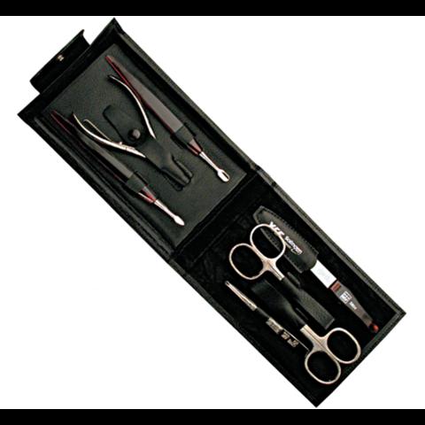 Маникюрный набор Yes, 7 предметов, цвет черный, кожаный футляр