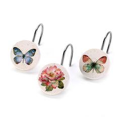 Набор из 12 крючков для шторки Avanti Butterfly Garden 13882G