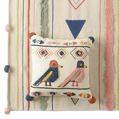 Чехол на подушку в этническом стиле с помпонами и вышивкой Птицы из коллекции Ethnic, 45х45 см Tkano TK20-CC0001