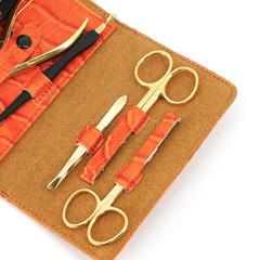 Маникюрный набор GD, 6 предметов, цвет оранжевый, кожаный футляр 1553OCLG