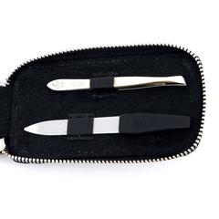 Маникюрный набор Dewal, 3 предмета, цвет черный, кожаный футляр 508BK