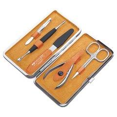 Маникюрный набор Dewal, 5 предметов, цвет желтый/оранжевый, кожаный футляр 505YO